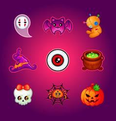 Cute halloween icons vector