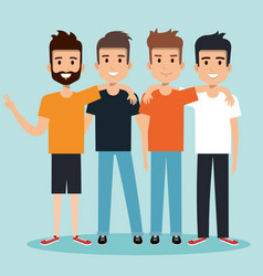 young men best friends hugging happy vector image