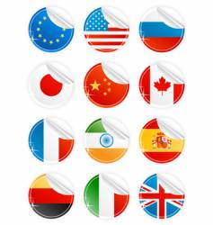 Shiny peeling national icons vector