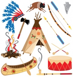 American indian clipart icons vector