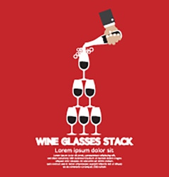 Wine Glasses Stack On Red Background vector image