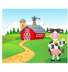 Cartoon cow holding a glass of milk with farm back vector
