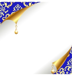 Background with curled corner and gold with vintag vector