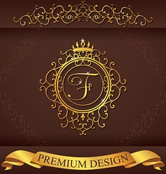 Letter f luxury logo template flourishes vector