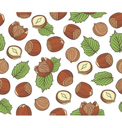 Seamless pattern with hand drawn hazelnuts on vector