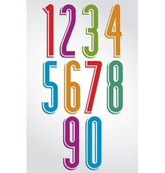 Shiny tall animated rounded numbers with white vector