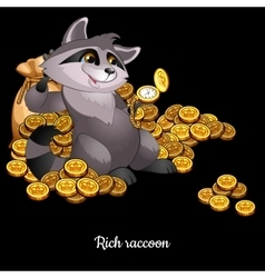 Rich raccoon awash in money black background vector