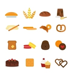 Fresh baked bread products icons isolated vector