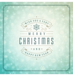 Christmas lights with snowflakes and typography vector image