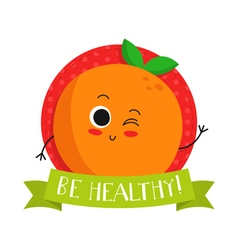 Orange cute fruit character bagde vector