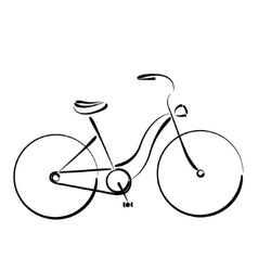 Sketched female bicycle isolated on white vector