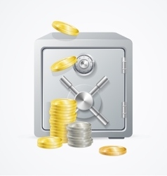 Safe and money different coins vector