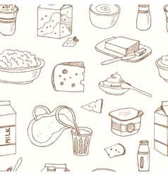 Seamless pattern with dairy products hand drawn vector