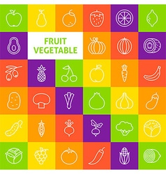 Line art fruit vegetable icons set vector