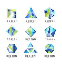 Abstract logo design set crystal gem geometric vector