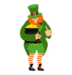 Angry leprechaun and pot of gold dwarf in vector