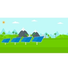 Background of solar power station in the mountain vector
