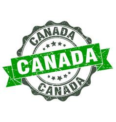 Canada round ribbon seal vector