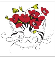 Cat head with poppy flowers vector