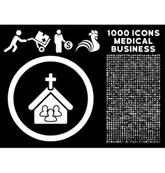 Church rounded icon with medical bonus vector
