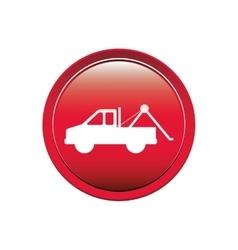 Circular button with tow truck vector