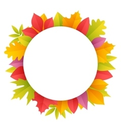 Colorful Autumn Leaves Round Frame vector image