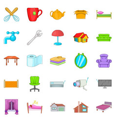 Cozy icons set cartoon style vector