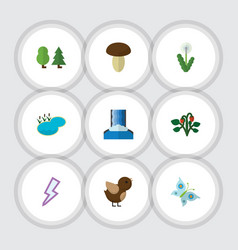 Flat icon ecology set of floral pond berry and vector
