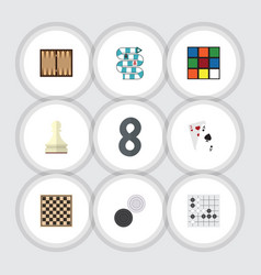 Flat icon entertainment set of multiplayer cube vector