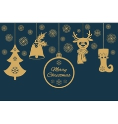 Gold christmas pendants such as a bell with holly vector