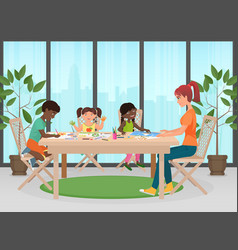 Happy family mother and kids together paint vector