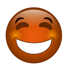 laughing emoticon style icon vector image