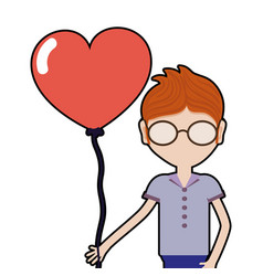 Man with glasses and heart balloon in the hand vector