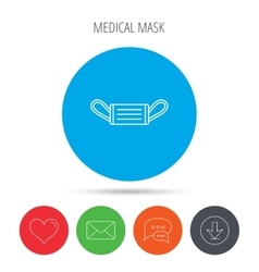 Medical mask icon Epidemic sign vector image
