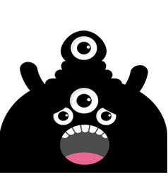 monster head silhouette with four eyes teeth vector image vector image
