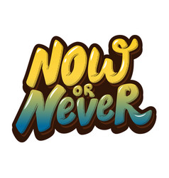 Now or never hand drawn lettering isolated on vector