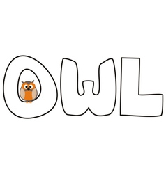 O is for owl - with funny staring owl vector image vector image