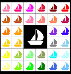 Sail boat sign felt-pen 33 colorful icons vector
