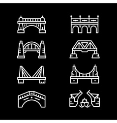 Set line icons of bridges vector