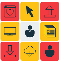 Set of 9 online connection icons includes save vector