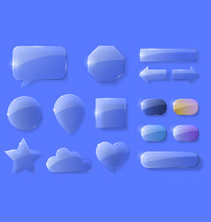 set of glass icons vector image vector image