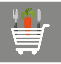 Shopping cart carrot food vector