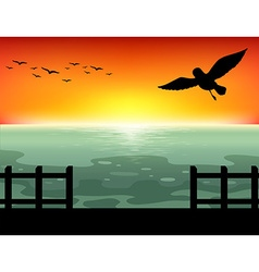Silhouette Sunset vector image