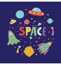 Space objects in cartoon style collection vector
