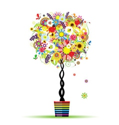 Summer floral tree in pot for your design vector image vector image