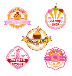 sweet dessets icons for candy shop vector image