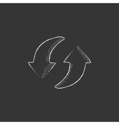Two circular arrows drawn in chalk icon vector