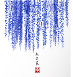 Wisteria hand drawn with ink on white background vector