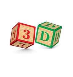 Word 3D written with alphabet blocks vector image vector image