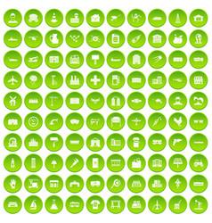100 industry icons set green circle vector